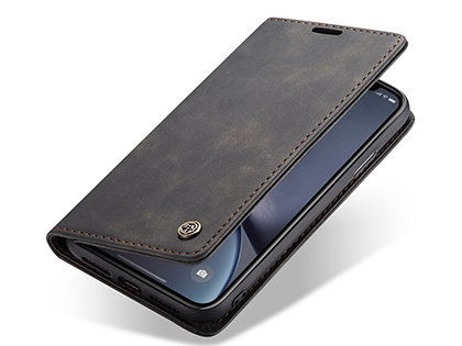 CaseMe Slim Synthetic Leather Wallet Case with Stand for iPhone Xs Max - Charcoal Leather Wallet Case