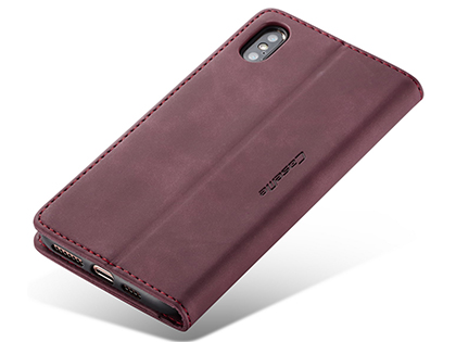 CaseMe Slim Synthetic Leather Wallet Case with Stand for iPhone Xs Max - Burgundy