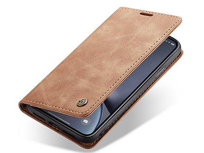 CaseMe Slim Synthetic Leather Wallet Case with Stand for iPhone Xs Max - Tan Leather Wallet Case