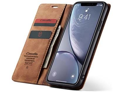 CaseMe Slim Synthetic Leather Wallet Case with Stand for iPhone Xs Max - Tan