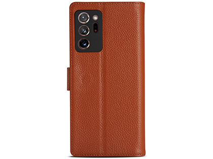 Premium Leather Wallet Case for Samsung Galaxy Note20 Ultra - Caramel Leather Wallet Case