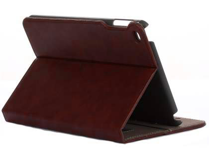 Synthetic Leather Case with Stand for iPad Mini 4 - Burgundy Leather Flip Case