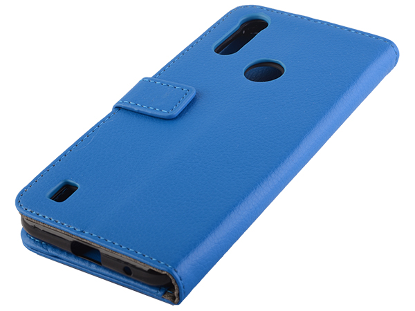 Synthetic Leather Wallet Case with Stand for Motorola Moto E6s (2020) - Blue Leather Wallet Case