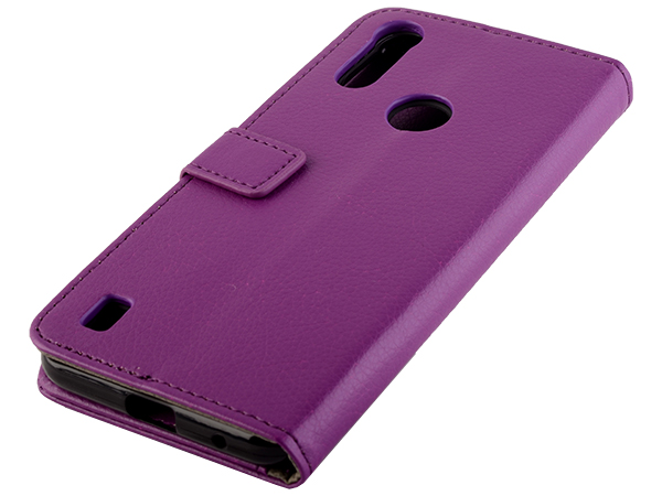 Synthetic Leather Wallet Case with Stand for Motorola Moto E6s (2020) - Purple Leather Wallet Case