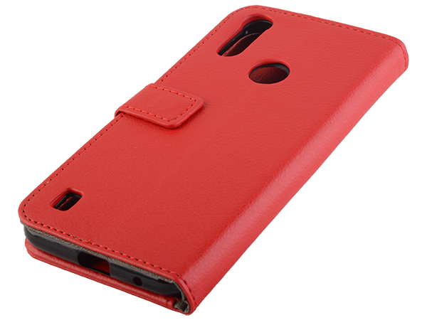Synthetic Leather Wallet Case with Stand for Motorola Moto E6s (2020) - Red Leather Wallet Case