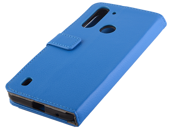 Synthetic Leather Wallet Case with Stand for Motorola Moto G8 Power Lite - Blue Leather Wallet Case