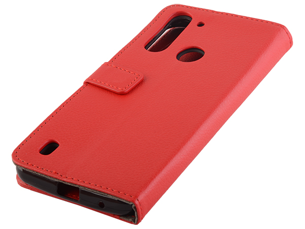 Synthetic Leather Wallet Case with Stand for Motorola Moto G8 Power Lite - Red Leather Wallet Case