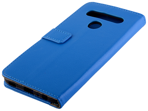Synthetic Leather Wallet Case with Stand for LG K61 - Blue Leather Wallet Case
