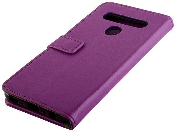 Synthetic Leather Wallet Case with Stand for LG K61 - Purple Leather Wallet Case