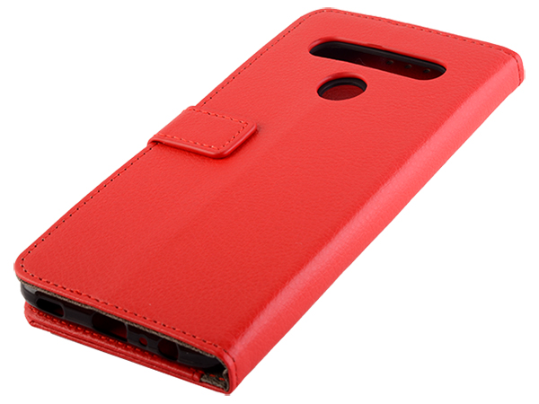 Synthetic Leather Wallet Case with Stand for LG K61 - Red Leather Wallet Case