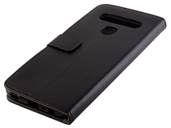 Synthetic Leather Wallet Case with Stand for LG K61 - Black Leather Wallet Case