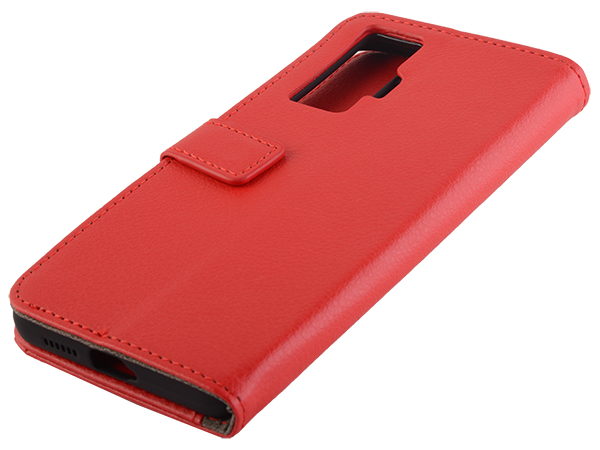 Synthetic Leather Wallet Case with Stand for vivo X50 Pro - Red Leather Wallet Case