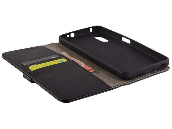 Synthetic Leather Wallet Case with Stand for Samsung Galaxy XCover Pro - Black
