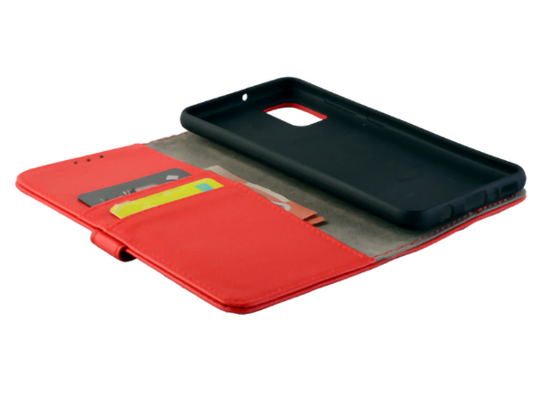 Synthetic Leather Wallet Case with Stand for Samsung Galaxy A51 - Red