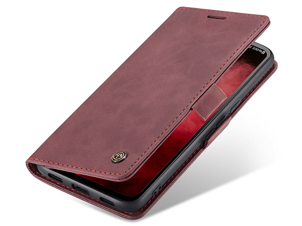 CaseMe Slim Synthetic Leather Wallet Case with Stand for Google Pixel 4a - Burgundy