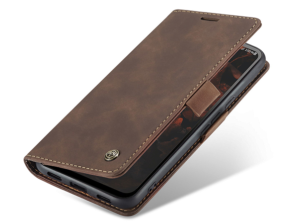 CaseMe Slim Synthetic Leather Wallet Case with Stand for Google Pixel 4a - Chocolate Leather Wallet Case
