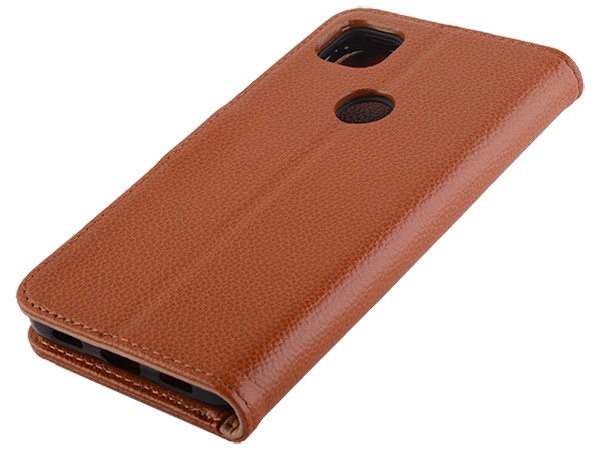 Premium Leather Wallet Case for Google Pixel 4a - Caramel Leather Wallet Case