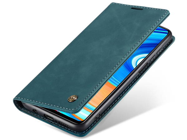 CaseMe Slim Synthetic Leather Wallet Case with Stand for Xiaomi Redmi Note 9 Pro - Teal Leather Wallet Case