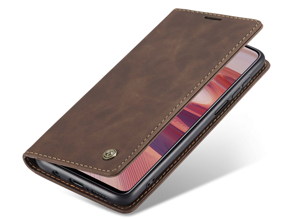 CaseMe Slim Synthetic Leather Wallet Case with Stand for Xiaomi Redmi Note 9 Pro - Chocolate Leather Wallet Case