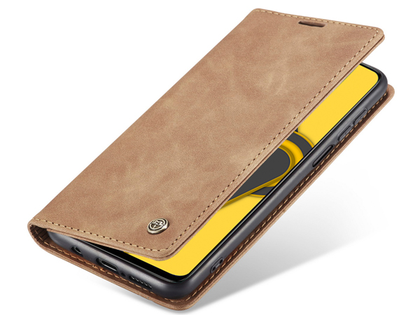 CaseMe Slim Synthetic Leather Wallet Case with Stand for Xiaomi Redmi Note 9 Pro - Beige Leather Wallet Case