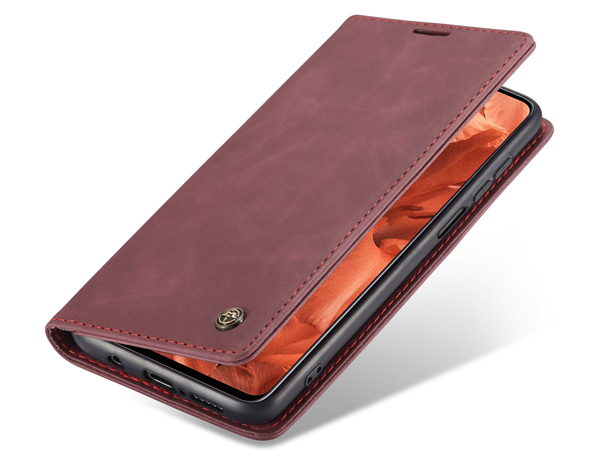 CaseMe Slim Synthetic Leather Wallet Case with Stand for Xiaomi Redmi Note 9 Pro - Burgundy Leather Wallet Case