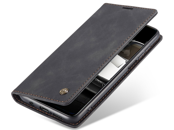 CaseMe Slim Synthetic Leather Wallet Case with Stand for Xiaomi Redmi Note 9 Pro - Charcoal Leather Wallet Case