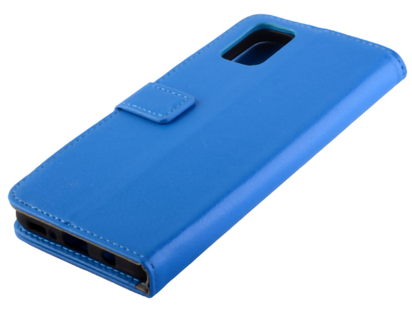 Synthetic Leather Wallet Case with Stand for Samsung Galaxy S20 FE 5G - Blue Leather Wallet Case