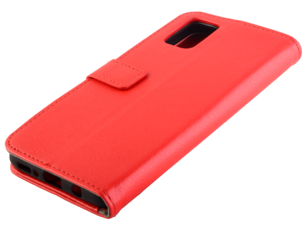 Synthetic Leather Wallet Case with Stand for Samsung Galaxy S20 FE 5G - Red Leather Wallet Case