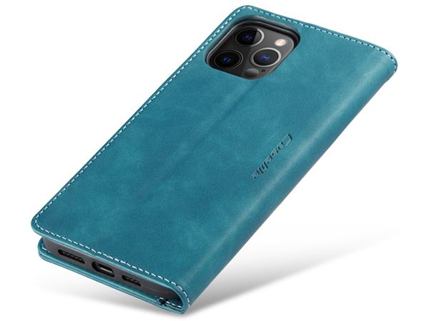 CaseMe Slim Synthetic Leather Wallet Case with Stand for iPhone 12 Pro Max - Teal