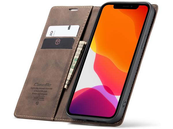 CaseMe Slim Synthetic Leather Wallet Case with Stand for iPhone 12 Pro Max - Chocolate