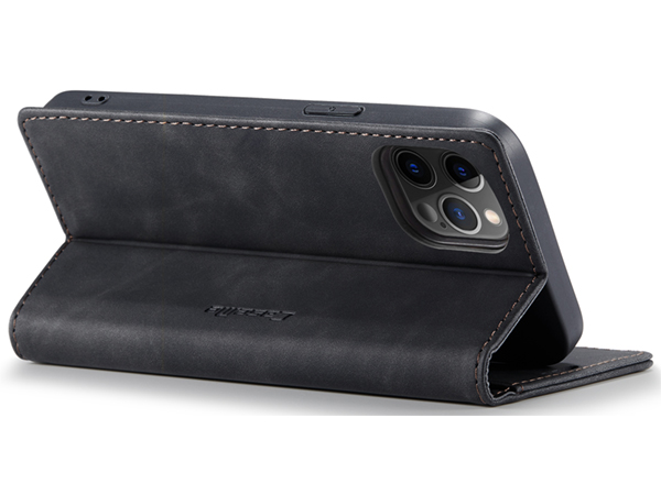CaseMe Slim Synthetic Leather Wallet Case with Stand for iPhone 12 Pro Max - Charcoal
