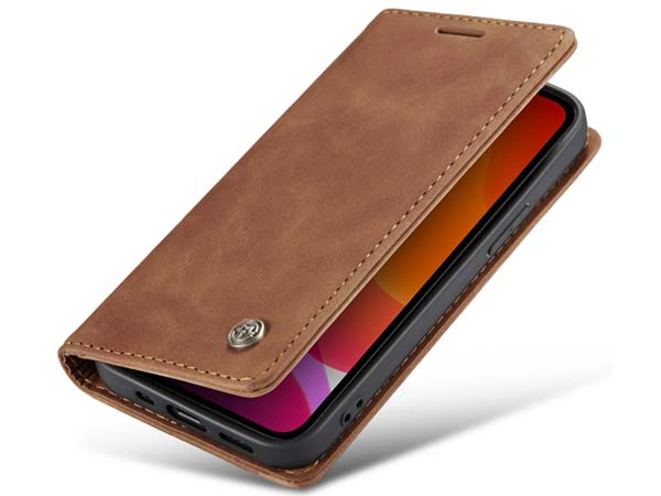CaseMe Slim Synthetic Leather Wallet Case with Stand for iPhone 12 Pro - Beige