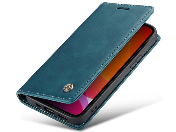 CaseMe Slim Synthetic Leather Wallet Case with Stand for iPhone 12 - Teal