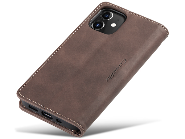CaseMe Slim Synthetic Leather Wallet Case with Stand for iPhone 12 - Chocolate