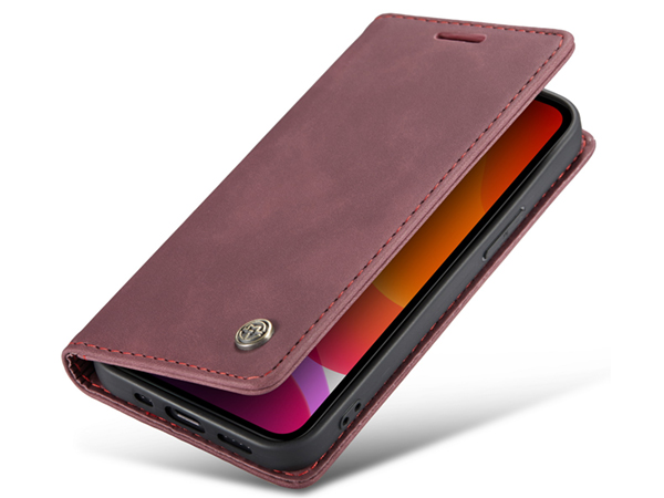 CaseMe Slim Synthetic Leather Wallet Case with Stand for iPhone 12 - Burgundy