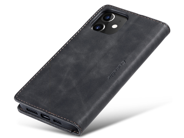 CaseMe Slim Synthetic Leather Wallet Case with Stand for iPhone 12 Mini - Charcoal