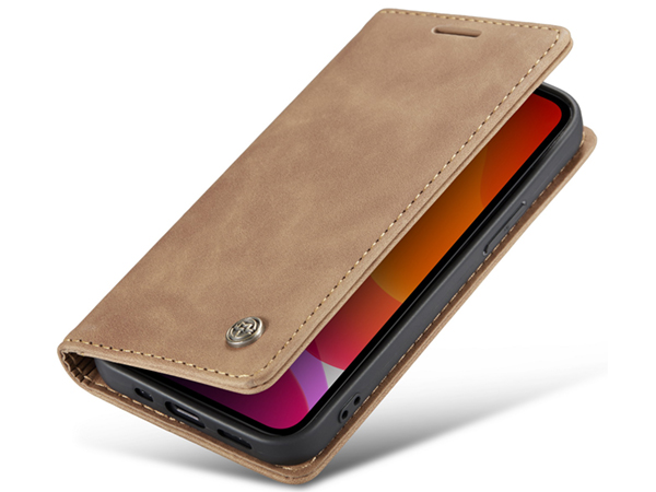 CaseMe Slim Synthetic Leather Wallet Case with Stand for iPhone 12 Mini - Beige
