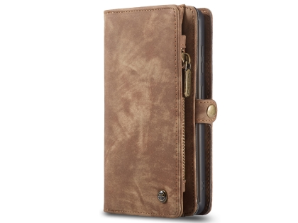 CaseMe 2-in-1 Synthetic Leather Wallet Case for Samsung Galaxy S20 FE 5G - Beige/Tan Leather Wallet Case