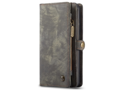 CaseMe 2-in-1 Synthetic Leather Wallet Case for Samsung Galaxy S20 FE 5G - Khaki/Grey Leather Wallet Case
