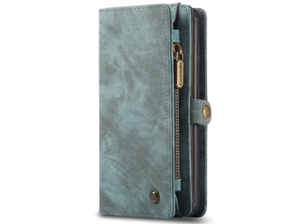 CaseMe 2-in-1 Synthetic Leather Wallet Case for Samsung Galaxy S20 FE 5G - Teal/Ash Leather Wallet Case