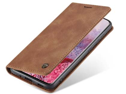 CaseMe Slim Synthetic Leather Wallet Case with Stand for Samsung Galaxy S20 FE 5G - Tan