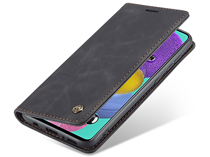 CaseMe Slim Synthetic Leather Wallet Case with Stand for Samsung Galaxy A71 5G - Charcoal