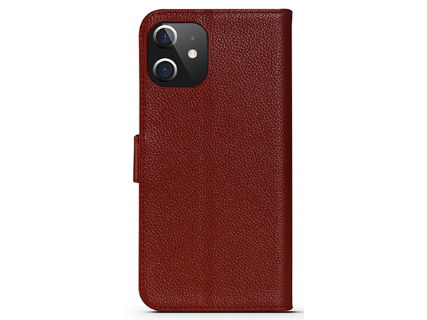 Premium Leather Wallet Case for Apple iPhone 12 Mini - Burgundy