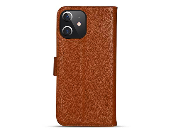 Premium Leather Wallet Case for Apple iPhone 12 Mini - Caramel Leather Wallet Case