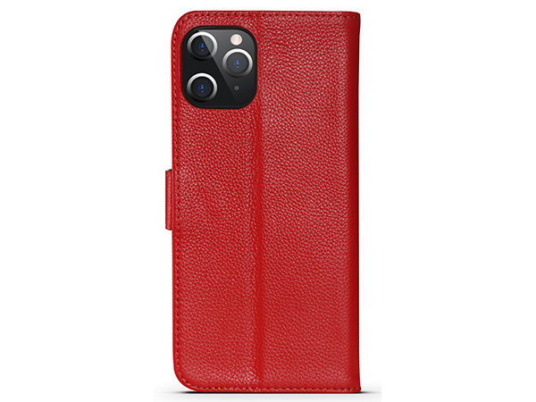 Premium Leather Wallet Case for Apple iPhone 12 Pro - Red Leather Wallet Case