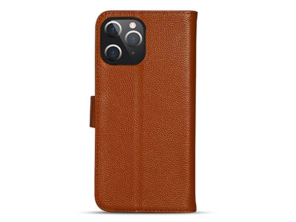 Premium Leather Wallet Case for Apple iPhone 12 Pro - Caramel Leather Wallet Case