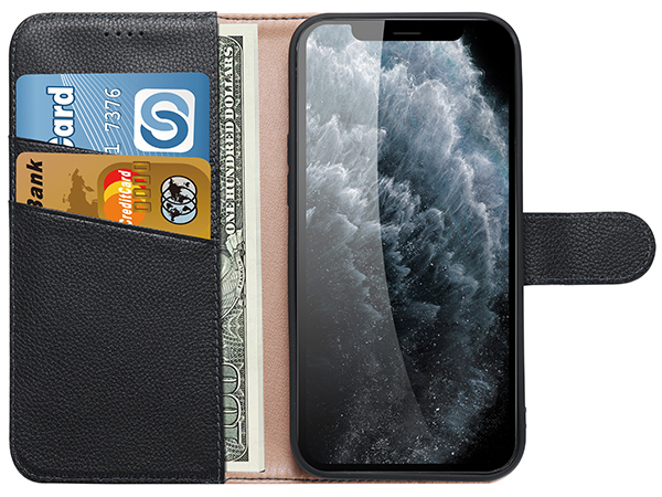 Premium Leather Wallet Case for Apple iPhone 12 Pro - Black