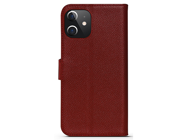Premium Leather Wallet Case for Apple iPhone 12 - Burgundy