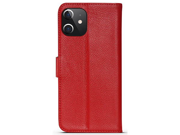 Premium Leather Wallet Case for Apple iPhone 12 - Red Leather Wallet Case