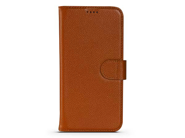Premium Leather Wallet Case for Apple iPhone 12 - Caramel